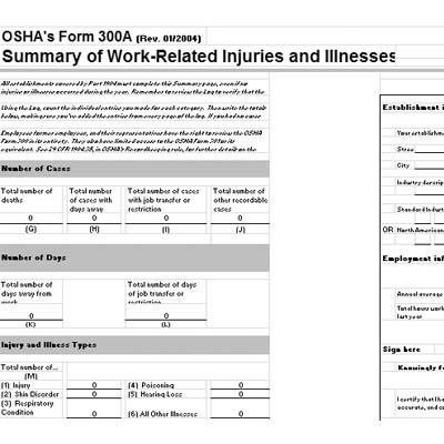 Complete & Post The Osha 300A Summary For 2015 By February 1
